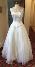 VINTAGE 1980's/90's WHITE 'SATIN' & ORGANZA WEDDING DRESS BY MORI LEE