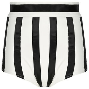 Women PU Leather Striped Hot Pants High Waist Booty Shorts Music Festival Party