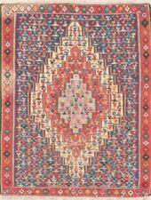 Vintage Flat-Weave Kilim 4'x5' Handmade Pictorial Geometric Oriental Area Rug