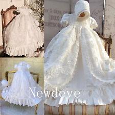 Vintage Robe Baby Baptism Dresses Christening Gowns Lace Beading Bonnet 0-24M