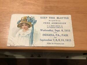 1915 Indiana Pennsylvania Free Admission Blotter County Fair PA