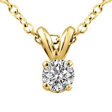 "0.40 Ct G VS2 Natural Round Diamond Solitaire Unisex Pendant 14k Gold Yellow 16"""