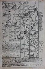 Antique road map BUCKINGHAMSHIRE, OXFORDSHIRE, WARWICKSHIRE, Owen & Bowen, 1724
