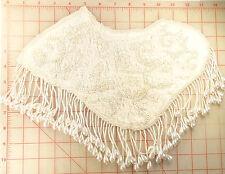 "2 Large beaded fringe appliques leaf swirl design white with pearls 13"" shoulder"