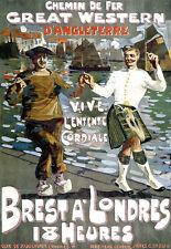 GWR-Brest Londres-d'angleterre railwaytrain Travel A3 Art Poster Print