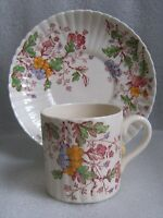 BOOTHS SILICON CHINA ENGLAND DEMITASSE CUP SAUCER WASHINGTON Pink Transferware