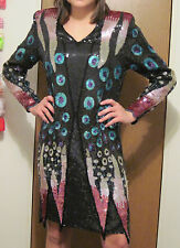 Vintage Black & Multi-Colored Sequins Abstract Silk Evening Dress Judith Ann