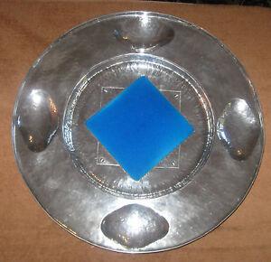 """Vintage 20th Century Cellini-Craft Tile-inset Hammered Aluminum Platter 16"""" Diam"""