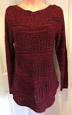 CHRISTOPHER & BANKS, Lg, Pullover Sweater, w/Red, Black & Sparkle Threading. NEW