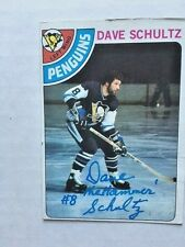Dave The Hammer Schultz  Autographed Pittsburgh Penquin NHL Card
