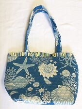 Bright Blue Ocean Theme Print Tote With Striped Trim NWOT