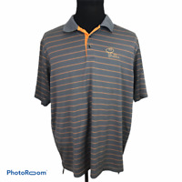 Adidas Mens Climacool Gray Striped Orange Polo Shirt 2XL Ohio Prestwick