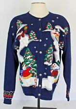 Wellington Womens XL Ugly Christmas Sweater Cardigan Blue Snowman Tree