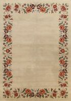 Bordered Contemporary Oriental IVORY Area Rug Modern Hand-tufted Wool 9'x12'