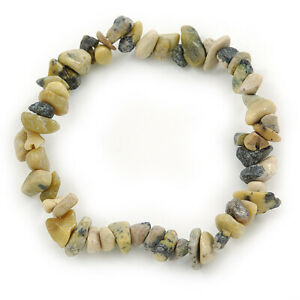 Grey/ Light Olive Semiprecious Nugget Stone Beads Flex Bracelet - 18cm L