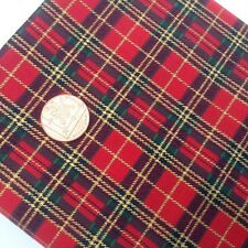 Christmas Fabric by Metre or Fat Quarters Red Green Gold TARTAN 100% Cotton X36