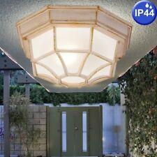 Außen Bereich Decken Lampe Balkon ALU Gold Glas Strahler Grundstück Leuchte weiß