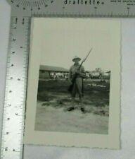 Man In Uniform Pith Helmet 1942 Vintage B&W Photo Rifle Bayonet Camp Compound
