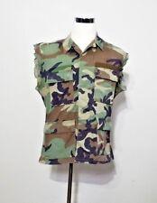 Camo Shirt Men's L Redneck Trucker Grunge Cut Sleeves Green Camouflage inv#z9939