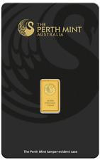 1 Gram 99.99% Fine Gold Bar - Perth Mint (in Assay - Black) #8