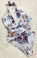 Cupshe Swimsuit Floral One Piece Halter Ruched Front Women S NWT
