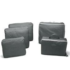 Grey 5pcs Clothes Underwear Sock Packing Cube Storage Bag Travel Organizer
