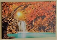 """Led Lighted Treescapes Waterfall Canvas Wall Art Large Size 23-5/8"""" x 15-7/8"""""""