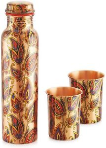 Copper Water Bottle Drinkware 1000 ml with 2 Glasses Gift Set