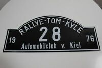 Blechschild Rallyeschild Rallye Tom Kyle 1976 Automobilclub Kiel Startnummer 28