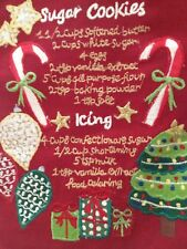 CHRISTMAS SUGAR COOKIE RECIPE STITCHED KITCHEN TOWEL RED RUFFLE ARTISTIC ACCENTS