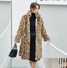 Leopard Printed Ladies  Stand Collar  Womens Parka Mink Fur Coat Jacket Thicken