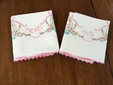 New listing So Sweet Pr Vintage Hand Embr/Crochet Edge Pillowcases=His/Hers Flowerbaskets