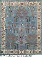 8 x10 Handknotted Fine Wool Rug Red Ivory Blue Yellow Tan Color 1/2' Pile