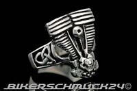 Biker Ring Motor EVO mit Keltenknoten Edelstahl Engine Harley Herren Geschenk