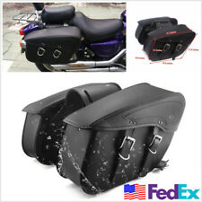 2 x Black PU Leather Motorcycle Saddle Bag Tail Side Pannier Travel Luggage Bags