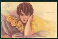 Artist Signed Corbella Glamour Lady WATER STAIN serie 250-5 postcard TC3337