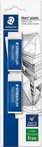 New STAEDTLER Mars Plastic Eraser  White (Pack of 2) FREE DELIVERY