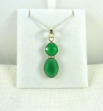 3.95ct Genuine Checkerboard Green Onyx 925 Sterling Silver Italy Pendant & Chain