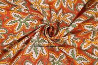 Orange Handmade Block Print Fabric by 5/10 Yard 100% Cotton Indian Sewing Fabric