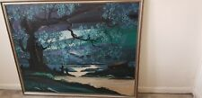 Large Framed Original Oil Painting By T Stone Haunted Forest 107cm x 87cm aprox