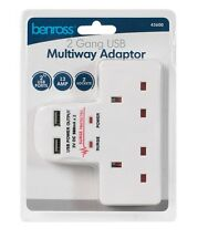 2 WAY GANG MAINS WALL MULTI PLUG ADAPTOR EXTENSION WITH 2 USB CHARGE PORTS 45600