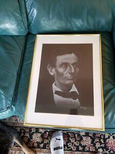 Original 1982 Charcoal/Pencil Framed Portrait of Abraham Lincoln  by Pat Bulger