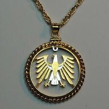 "24k Gold & Silver 5 Mark German ""Eagle"" Cut Coin Necklace in Gold-filled Bezel"
