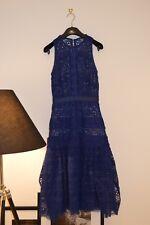 Authentic SELF PORTRAIT Lace Midi Dress Cobalt Blue size UK4
