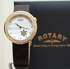 NEW Rotary Ladies Watch Swarovski Crystals mother of Pearl Brown Leather RRP£180