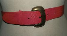 VINTAGE 1980'S SLIM RED MOCK CROC PRINT EMBOSSED LEATHER BELT  U.K. SIZE 8 - 10
