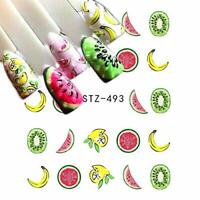 Nail Art Water Decals Stickers Transfers Summer Watermelon Banana Lemons (493)