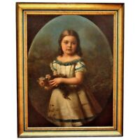 19th c. Portrait Painting Girl Young Lady Child Oil on Canvas Antique Victorian
