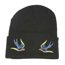 Winter Knit Black Beanie Cuff, Sparrow 3D Patch Embroidery Black