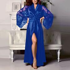 Women's Satin Long Nightdress Silk Lace Lingerie Nightgown Sleepwear Sexy Robe